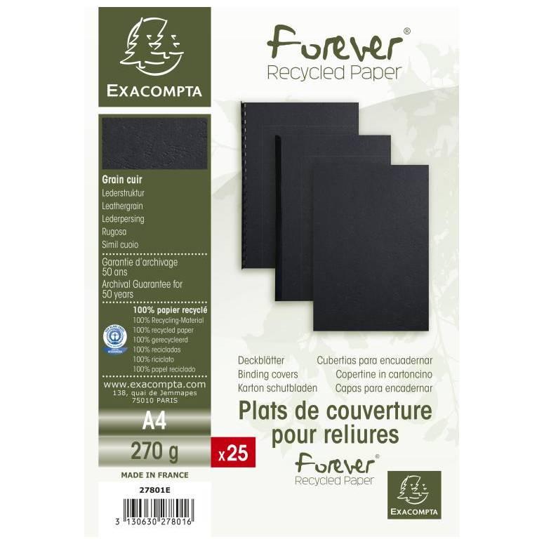 Plats couv FOREVER A4 270g noir - Paquet de 25
