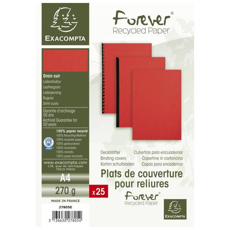 Plats couv FOREVER A4 270g rouge - Paquet de 25