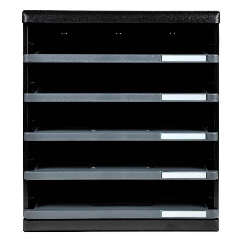 bloc de classement MODULO Ecoblack 5 tiroirs ouverts Noir / gris