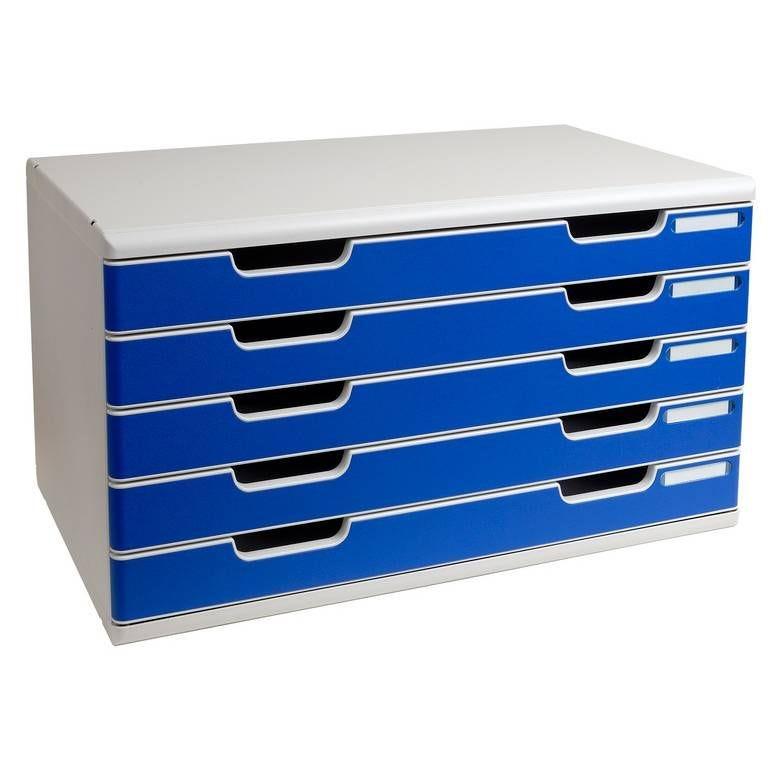 Bloc de classement Modulo 5 tiroirs A3+ 54 mm Gris lumière/bleu