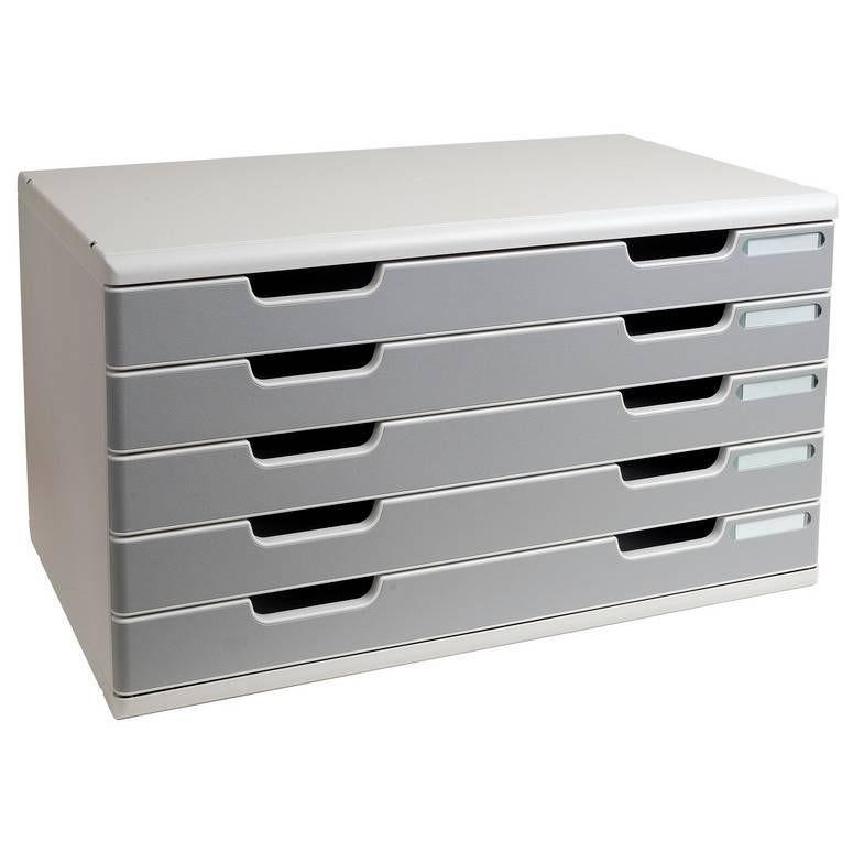Bloc de classement Modulo 5 tiroirs A3+ 54mm Gris lumière/granit