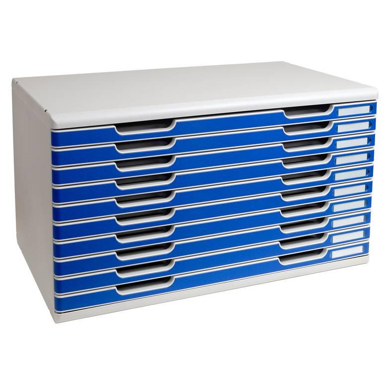 Bloc de classement MODULO A3+ 10 tiroirs 26 mm Gris lumière/bleu