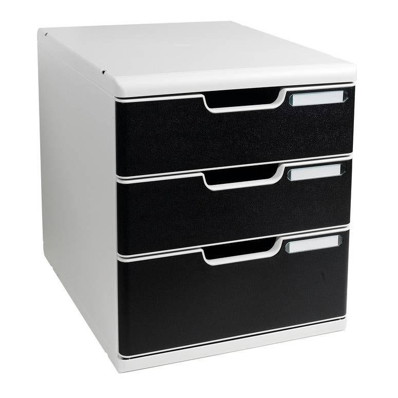Bloc de classement MODULO A4+ 3 tiroirs 110mm et 82mm Gris lumière/noir