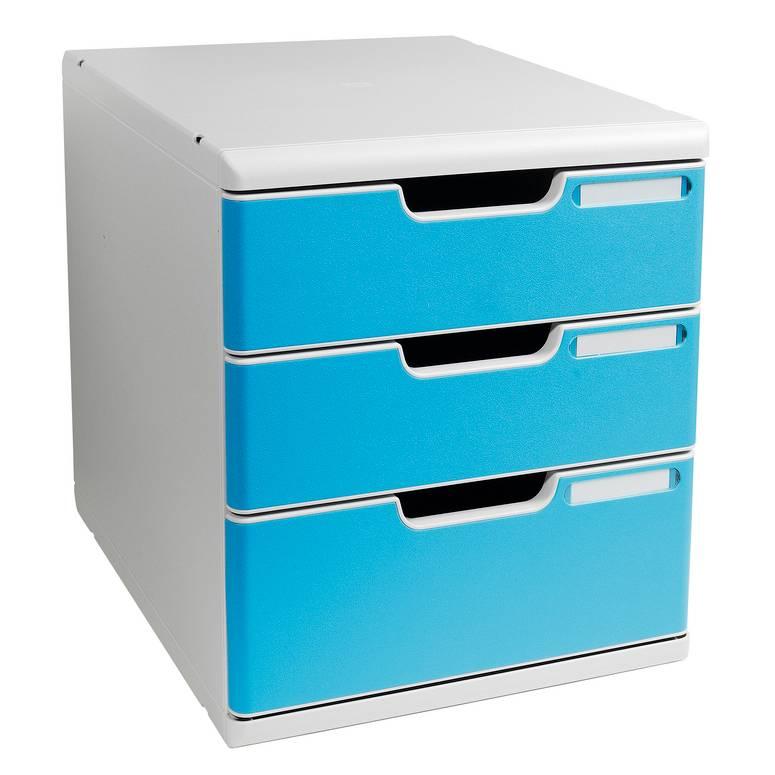 Bloc de classement MODULO A4+ 3 tiroirs 110mm et 82mm Gris lumière/ Turquoise