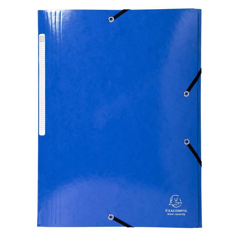 Chemise 3 rabats élastiques Max Capacité IDERAMA Carte pelliculée 425g Bleu