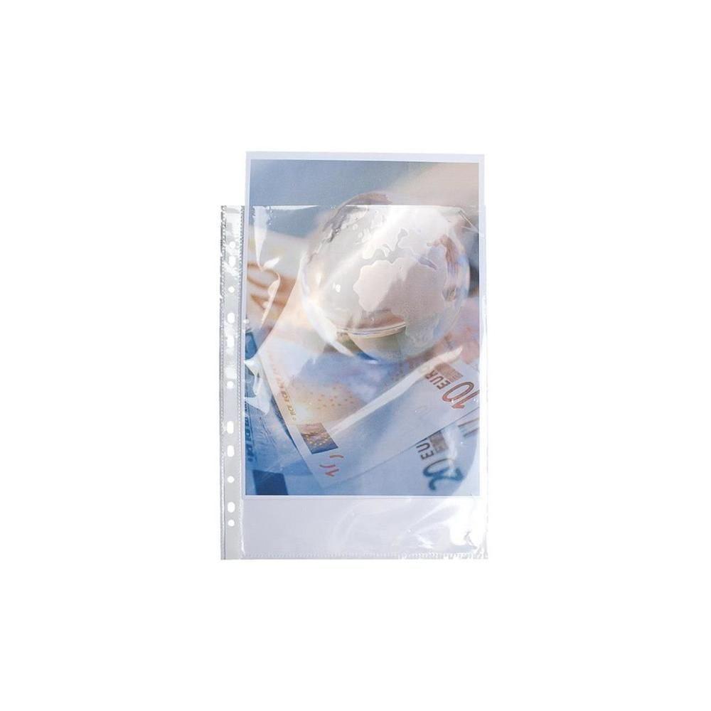 Pochettes perforées polypropylène grainé 5/100e 24x32cm vertical - Sachet de 50