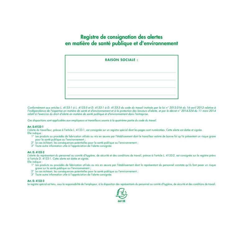 Piqûre 24x32cm - Registre de consignation des alertes en matière de santé pub…