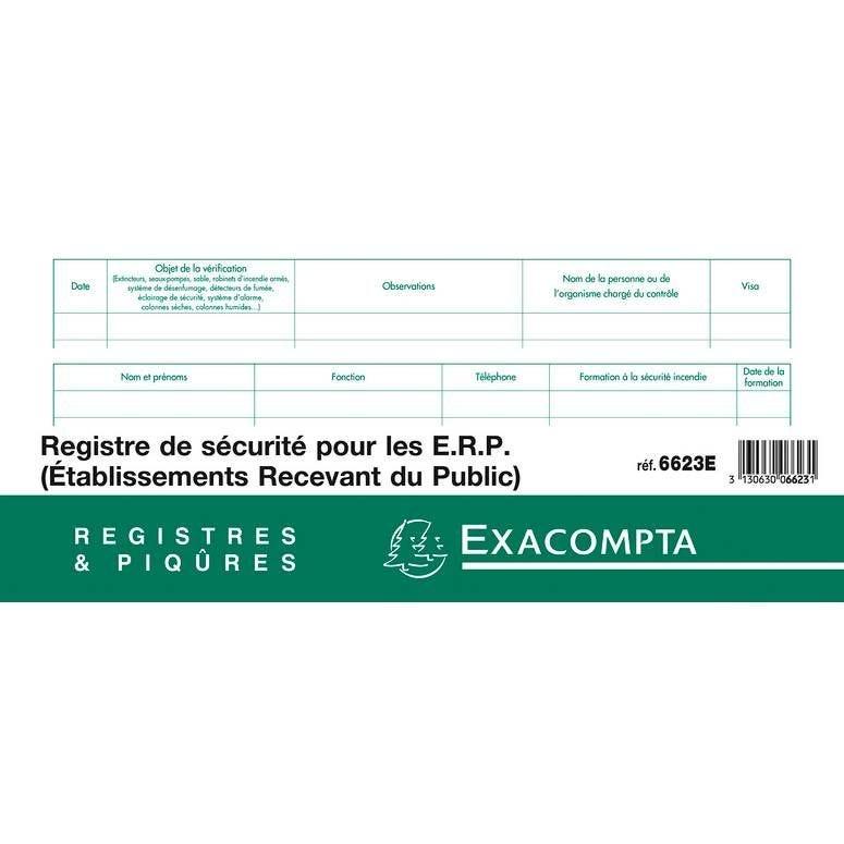 Registre de sécurité pour Etablissements Recevant du Public 24x32cm 20 Pages