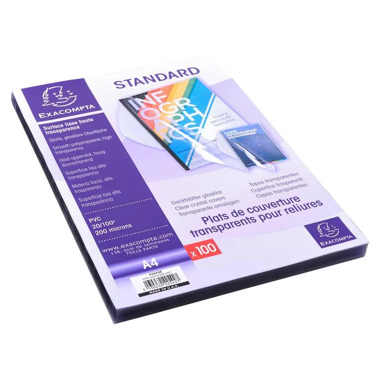 Plats A4 PVC Cristal 20/100° - boîte de 100