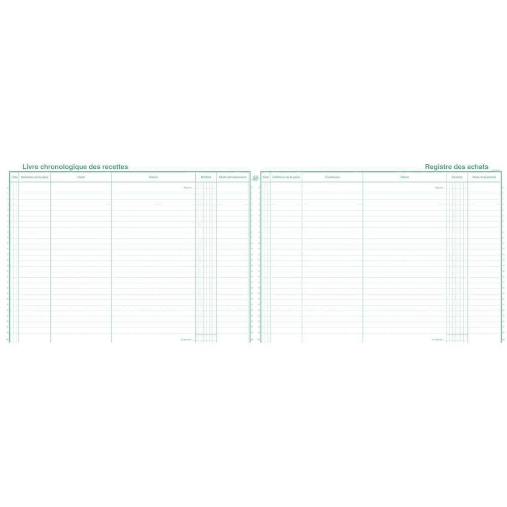 Piqûre 24x32cm Livre Recettes Registre Achats Spécial micro-entrepreneurs 80 …