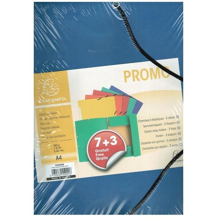 Chemise à élastique 3 rabats 385g A4 promo Lot 7+3 gratuits