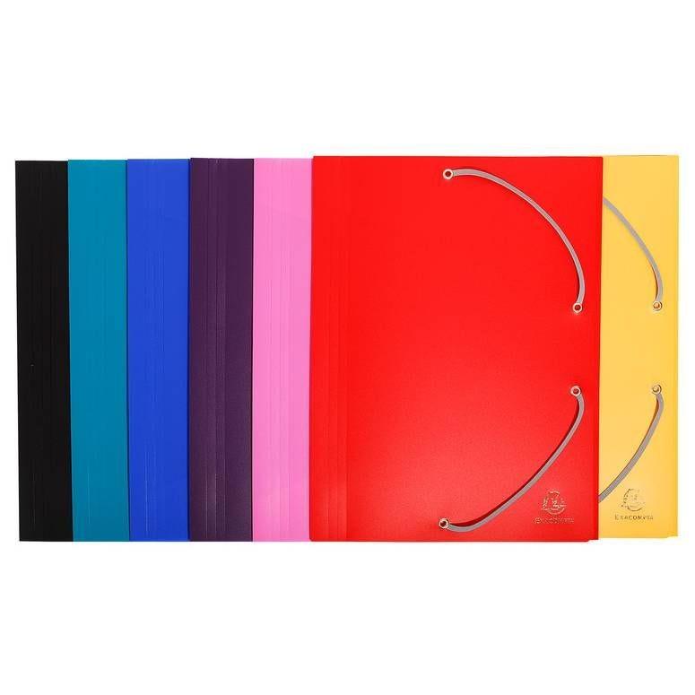 Chemise à élastique 3 rabats A4 Polypropylène 4/10e Opaque Coloris aléatoire