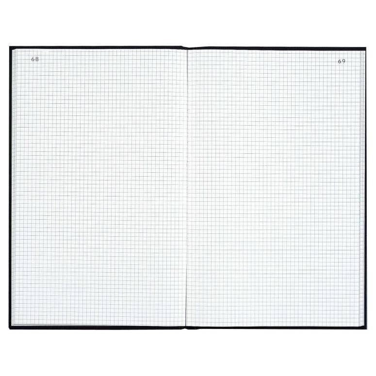 Registre 29,7x21cm 5x5 folioté 200 pages Noir toilé