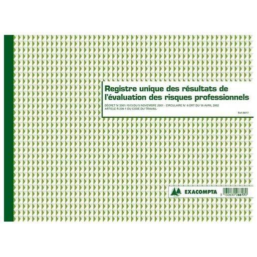 Piqûre 24x32cm Registre unique des résultats de l'évaluation des risques prof…