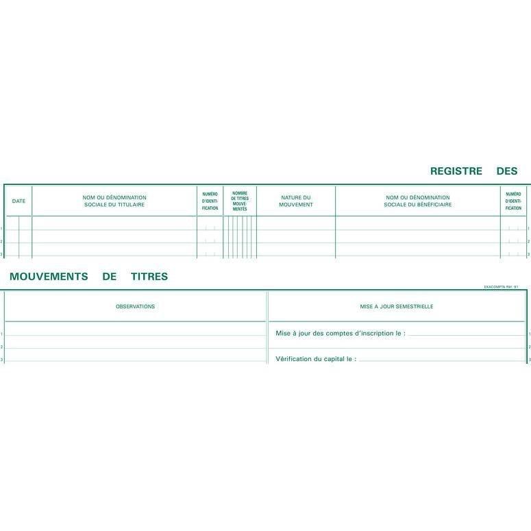 91E Registre 24x32 mm Mouvements de Titres 100 Pages (photo)