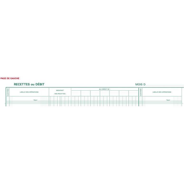 Piqûre 28x38cm Journal de caisse ou banque 15 débit 7 crédit 31 lignes 80 p
