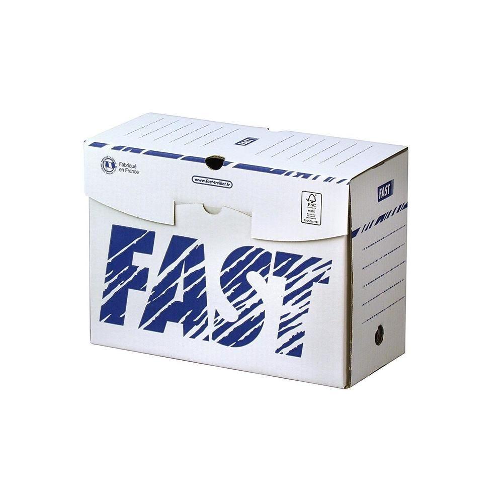Boîtes Archives en Carton Dos 15cm Montage Manuel Blanc / Bleu - par lot de 25