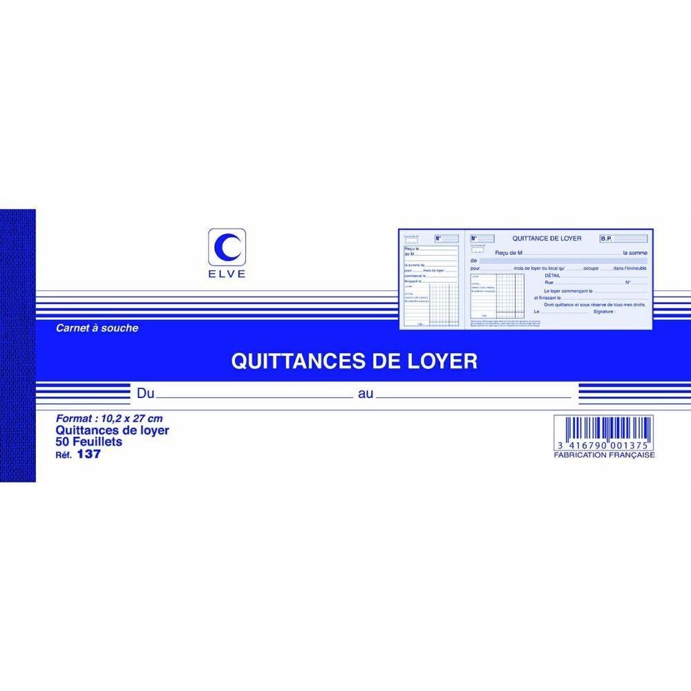 Carnet à souche QUITTANCES DE LOYER 105 x 270 mm 50 Feuillets