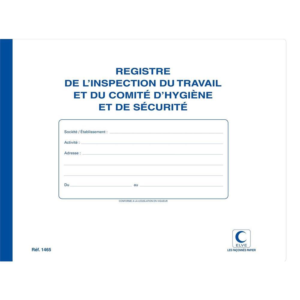 Registre Inspection du Travail/Comm Hygiène et Sécurité - 22 x 28 cm - 20 Pages