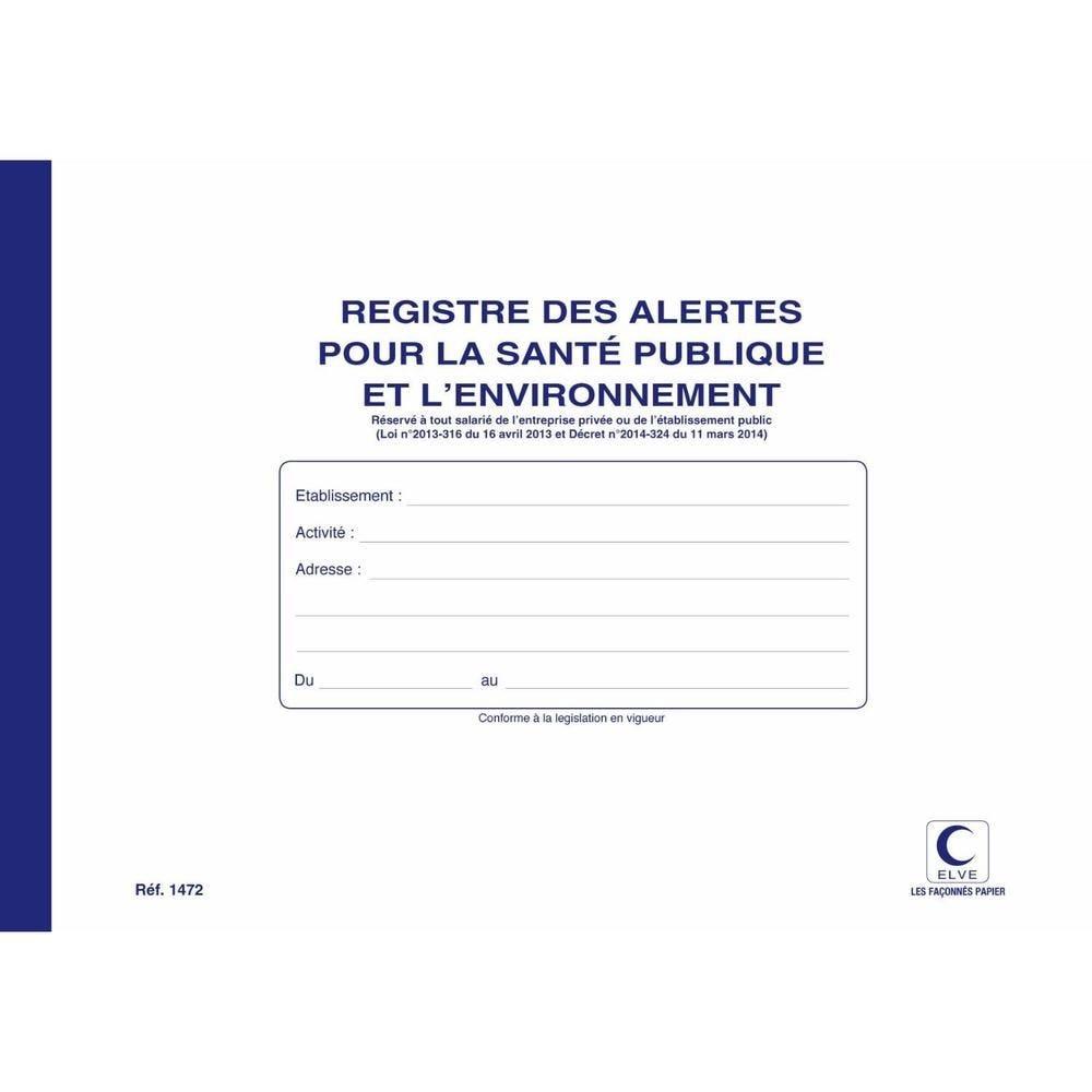 Registre des alertes pour la santé publique et l'environnement 210 x 297 mm 4…