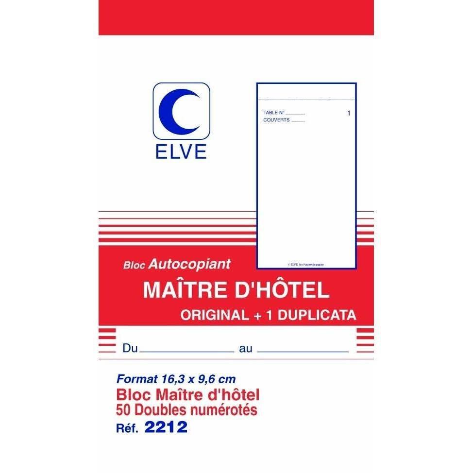 Bloc Autcopiant MAITRE D'HOTEL 165 x 96 mm 50 Feuillets Dupli
