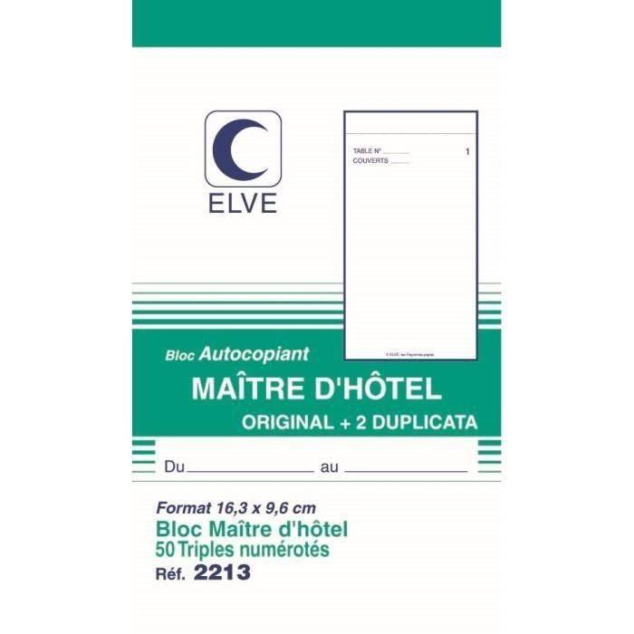Bloc Autcopiant MAITRE D'HOTEL 165 x 96 mm 50 Feuillets Tripli