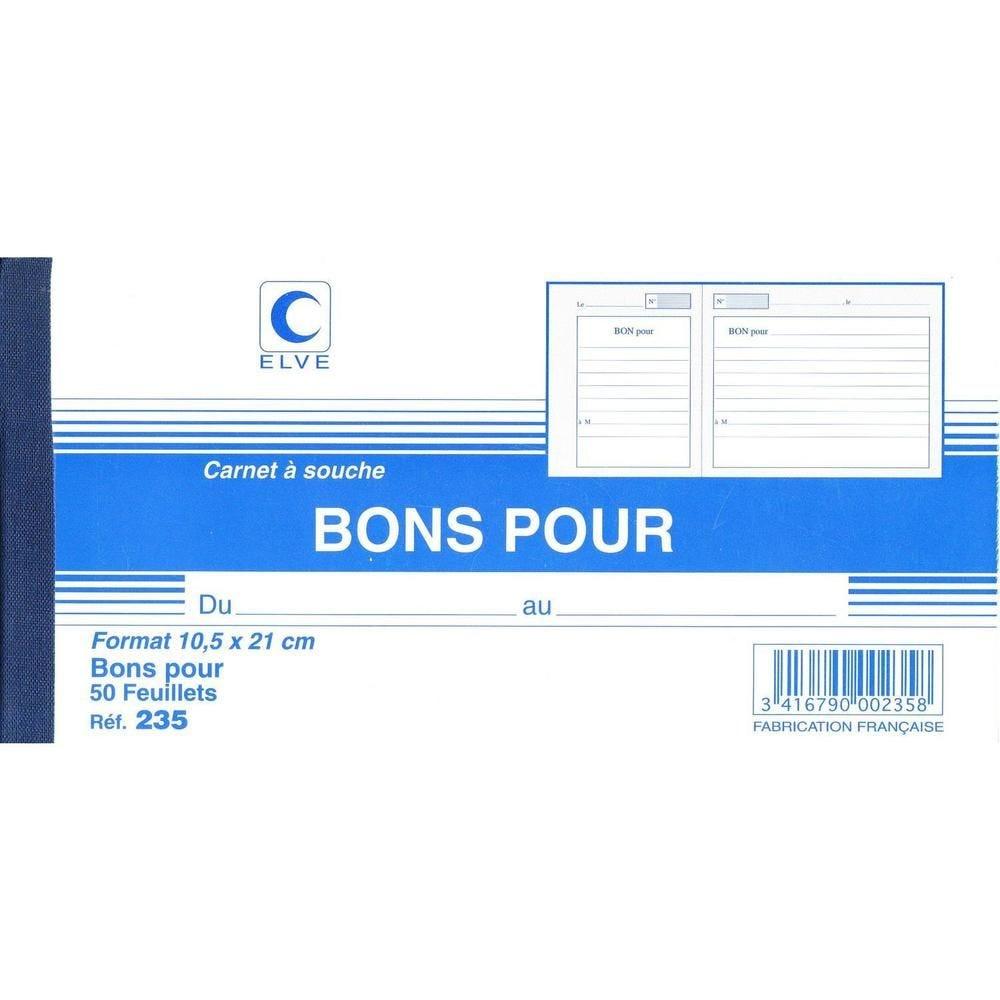 Carnet à souche 'BONS POUR' 105X210 50F