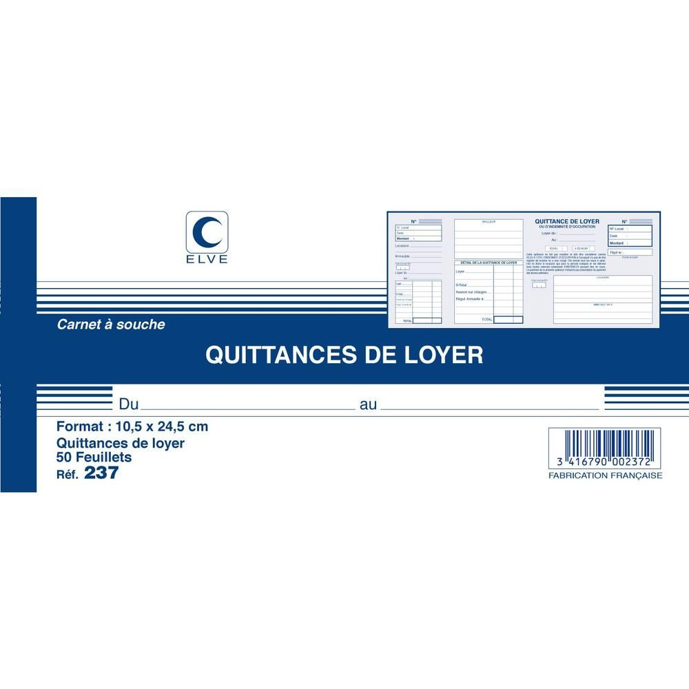 Carnet à souche QUITTANCES DE LOYER 105 x 245 mm 50 Feuillets