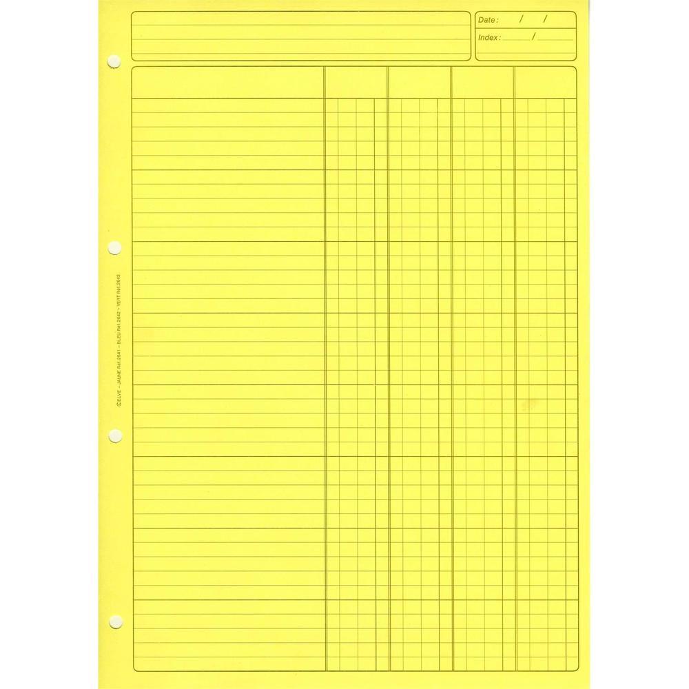 Bloc Audit 4 Colonnes + entête 297X210 80 Pages Jaune