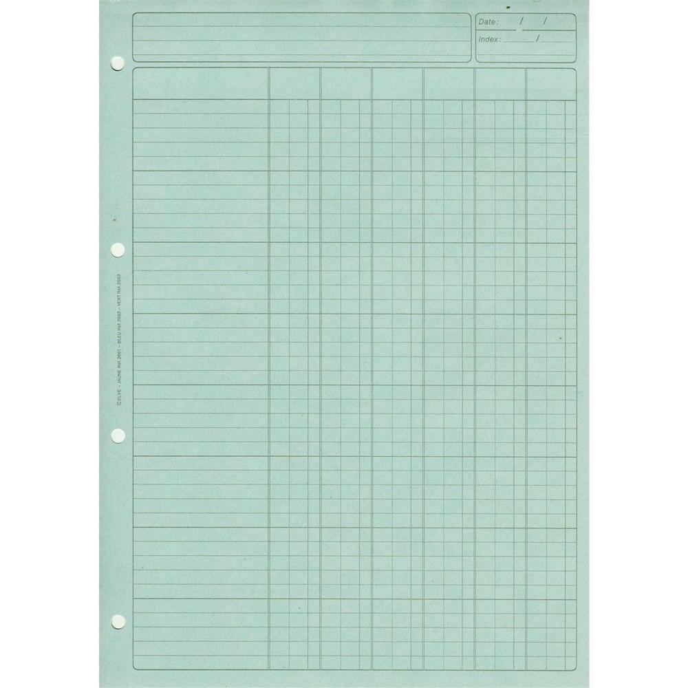 Bloc Audit 6 Colonnes + entête 297X210 80 Pages Bleu