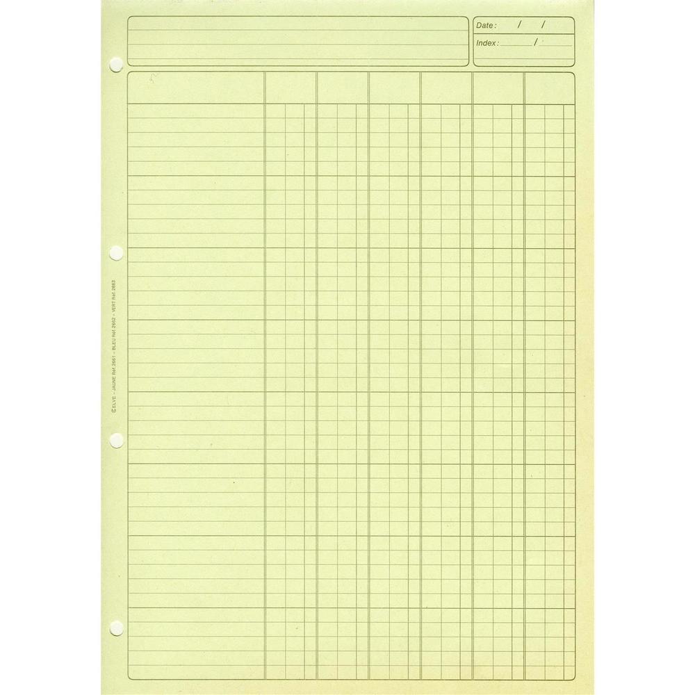 Bloc Audit 6 Colonnes + entête 297X210 80 Pages Vert