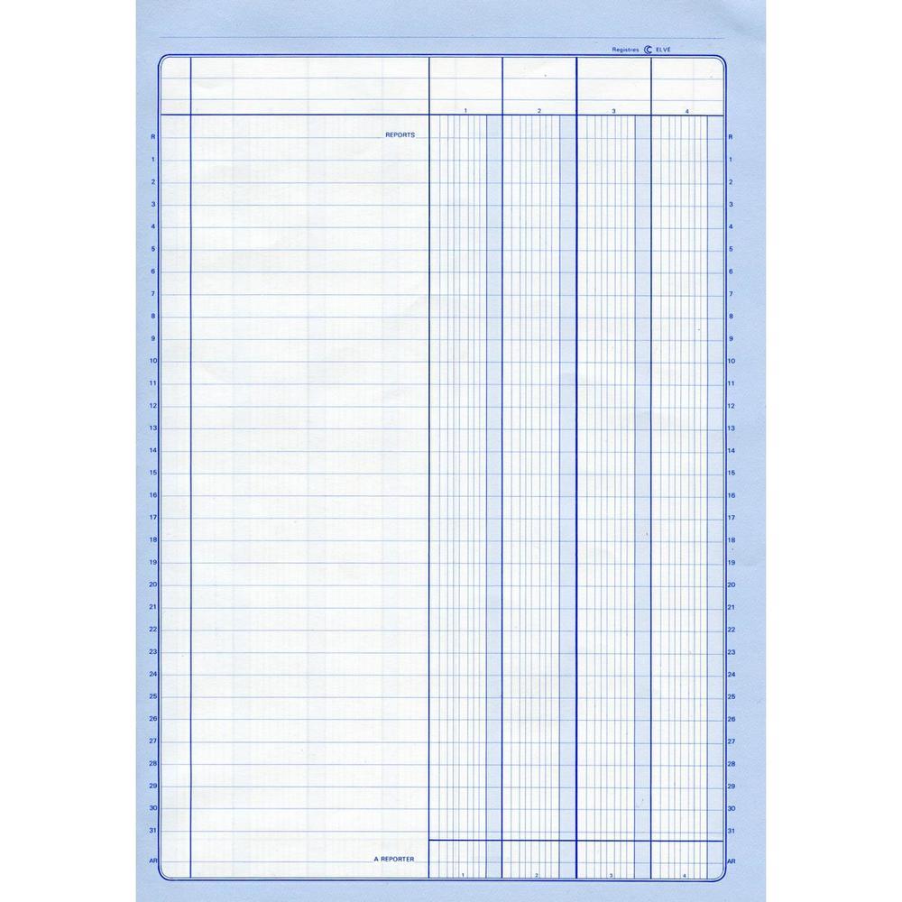 Registre comptable 4col/1 p. 29,7x21 200 p. t. noire
