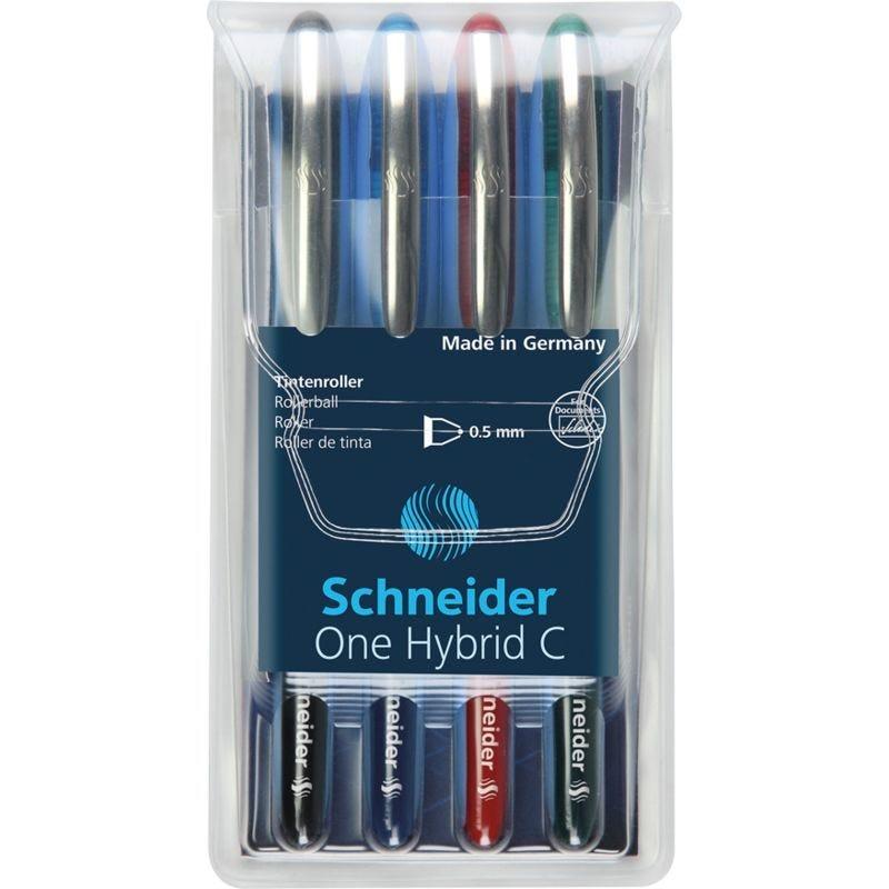 Pochette de 4 stylos roller à encre One Hybrid C Pte Conique 05 Multicolore