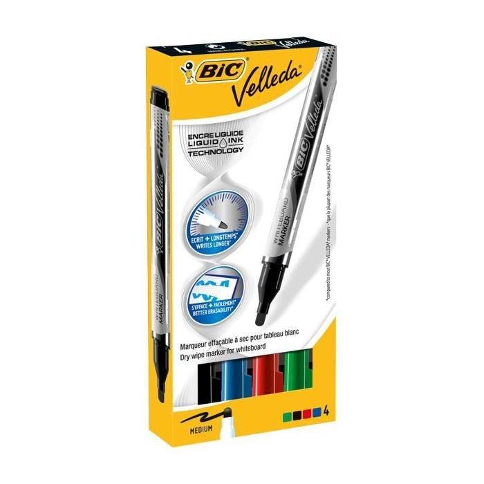 Etui 4 Feutres tableau blanc effaçable LIQUID INK Pocket Pte Ogive Moy. N/B/R/V