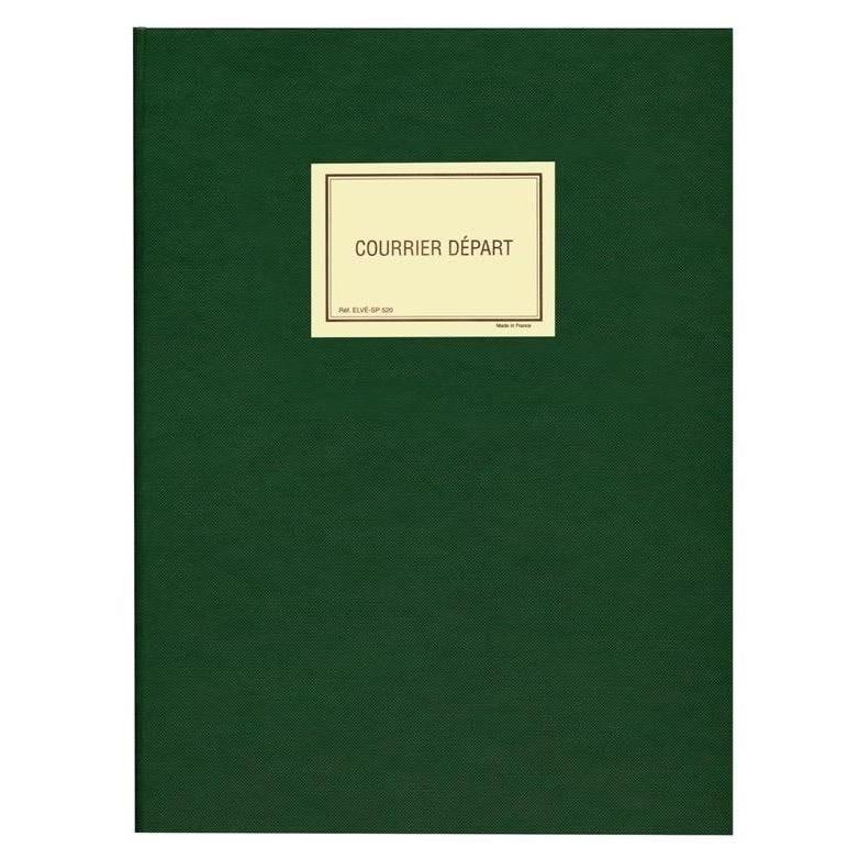 Registre courrier départ 150 pages en 25x32cm. Coloris vert