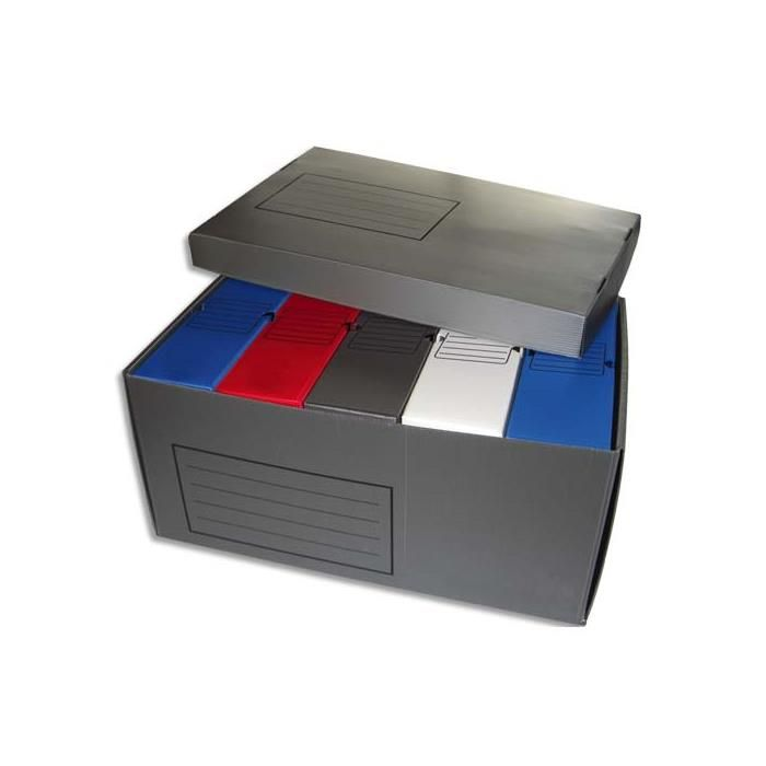 boîtes archives dos 10cm polypropylène assortis + 1 conteneur PP gris - par lot