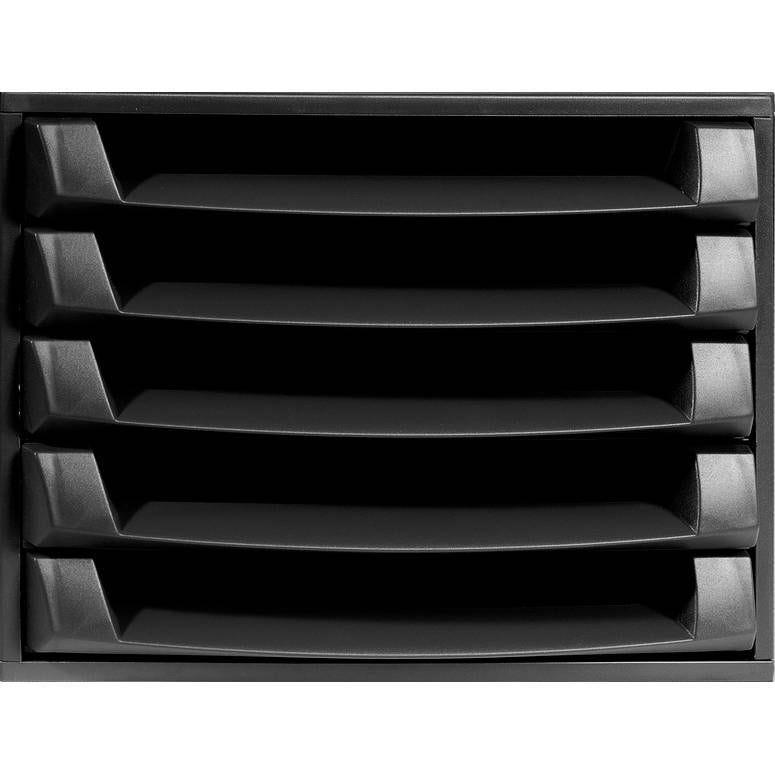 Bloc de classement THE BOX Ecoblack 5 tiroirs ouvert Noir