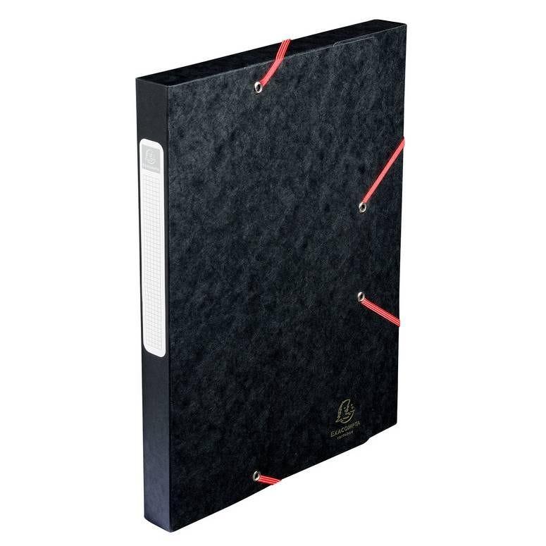 Chemise 3 rabats et élastique Exatobox dos 25 mm carte lustrée 5/10e Noir