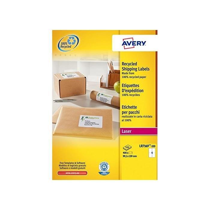 Boîte de 400 Étiquettes adresse laser recyclées blanc 99,1 x 139 mm