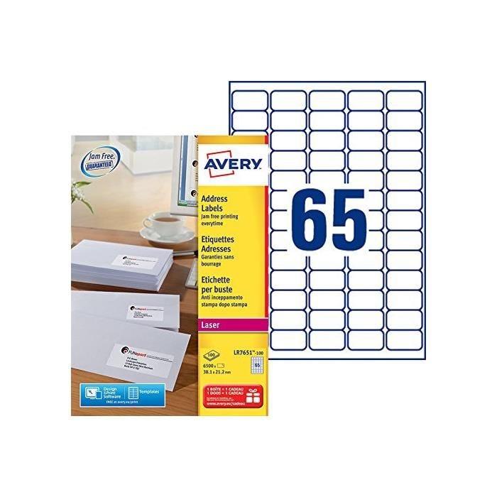 Boîte de 6500 Étiquettes adresse laser recyclées blanc 38,1 x 21,2 mm