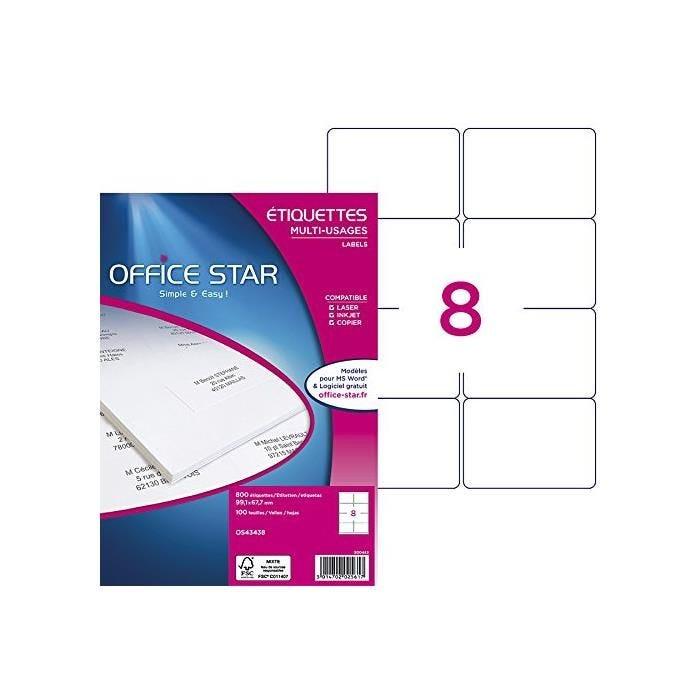Boîte de 800 Étiquettes multi-usage blanches 99,1 x 67,7 mm