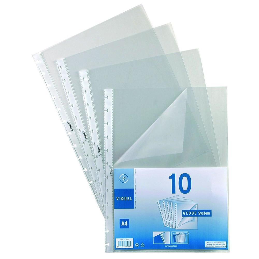 Pochettes perforées en coin pour reliure Maxi-Géode polypropylène - Sachet de 10