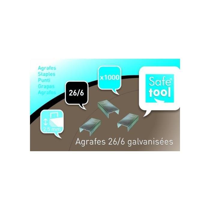 Boîte de 1000 Agrafes N° 26/6 galvanisé - Capacité d'agrafage 2.5 mm