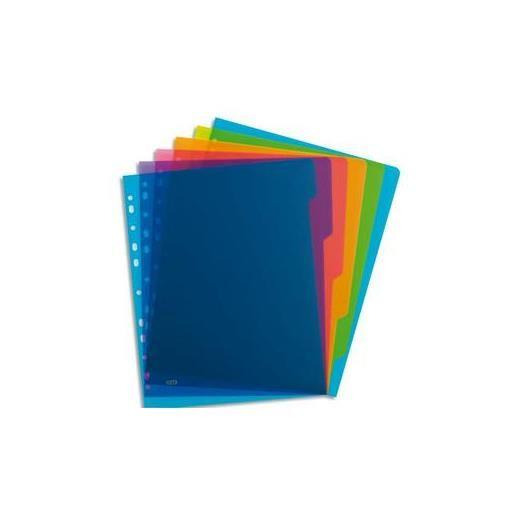 Intercalaire SCHOOL LIFE 6 touches polypropylène translucide A4, coloris asso…