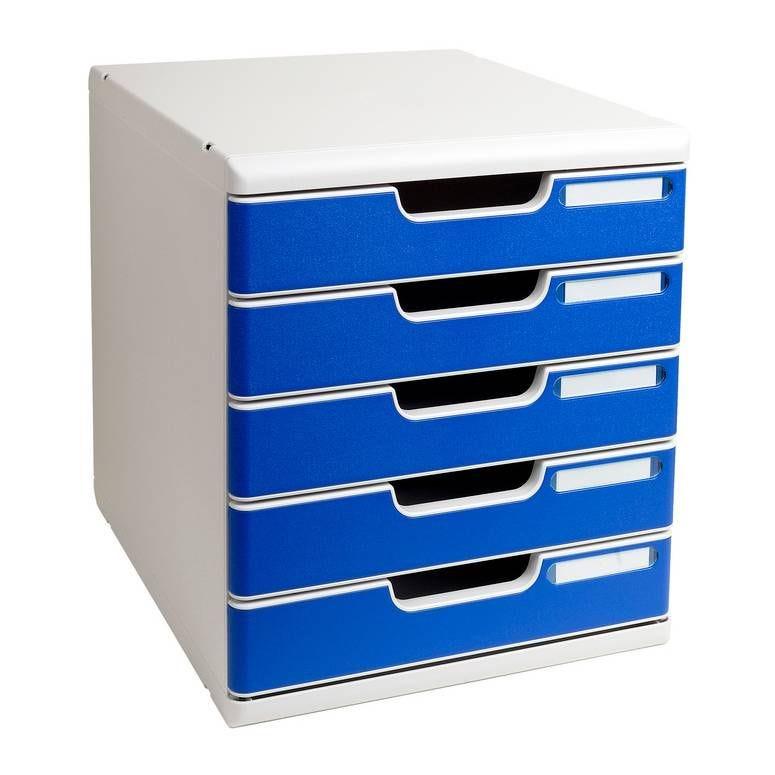 Bloc de classement Modulo 5 tiroirs A4+ 54mm Gris / Bleu