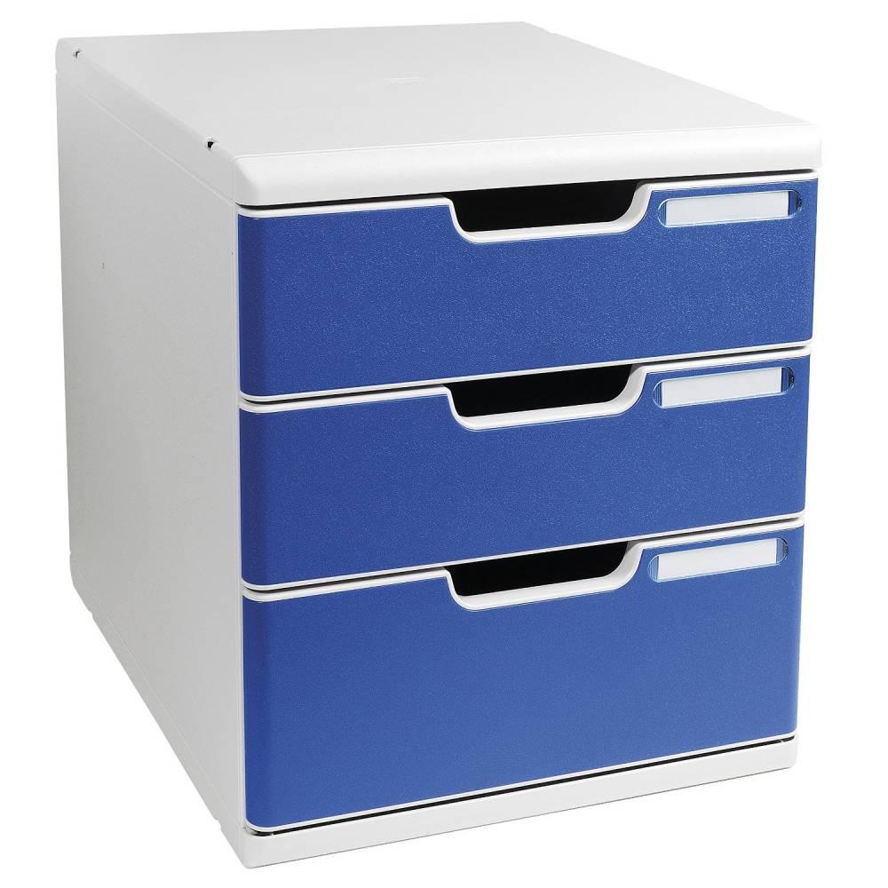 Bloc de classement MODULO A4+ 3 tiroirs 110mm et 82mm Gris/bleu