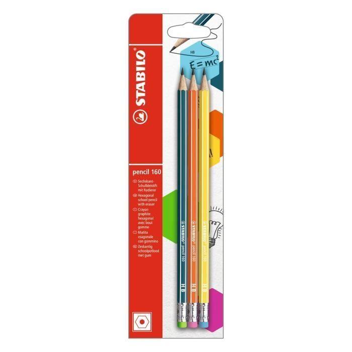 Blister x 3 crayons graphite STABILO pencil 160 bout gomme HB - bleu ardoise …
