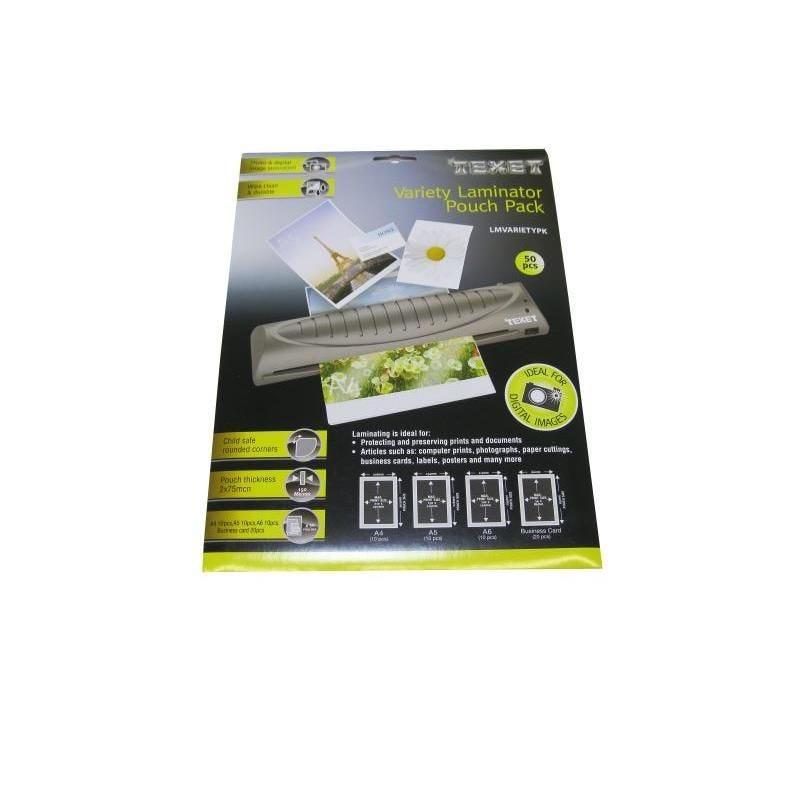 Feuilles de plastification(50pces) 75 mic 10xA4-10xA5-10xA6-20xcarte de visite