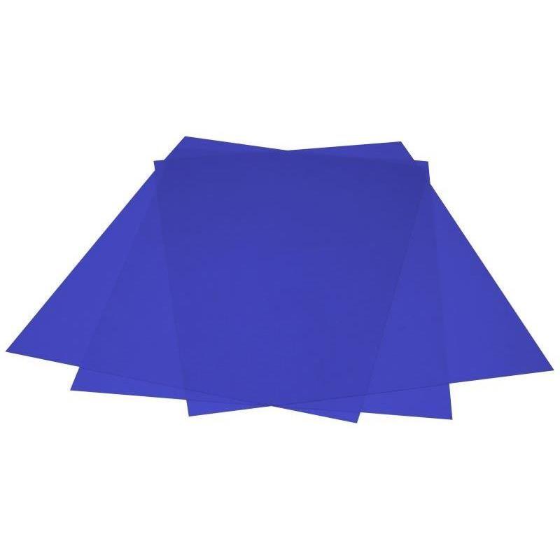 Plat pour couverture couleurs PVC 200mic A4 216x303mm paquet de 100 bleu transp