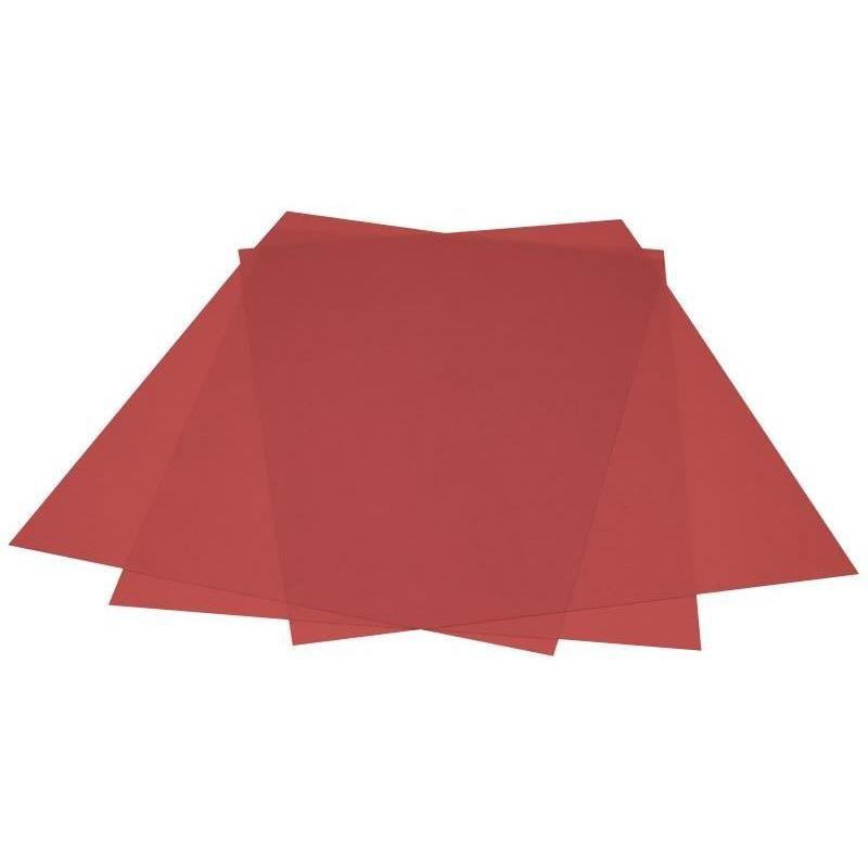Plat pour couverture couleurs PVC 200mic A4 216x303mm paquet de 100 rouge transp